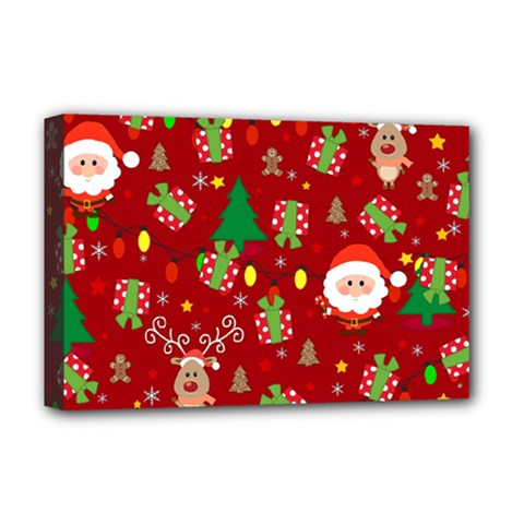 Santa And Rudolph Pattern Deluxe Canvas 18  X 12   by Valentinaart