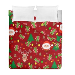 Santa And Rudolph Pattern Duvet Cover Double Side (full/ Double Size)