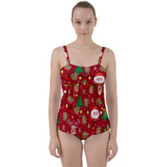 Santa And Rudolph Pattern Twist Front Tankini Set