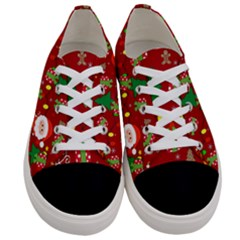 Santa And Rudolph Pattern Women s Low Top Canvas Sneakers