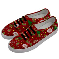 Santa And Rudolph Pattern Men s Classic Low Top Sneakers by Valentinaart