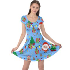 Santa And Rudolph Pattern Cap Sleeve Dress
