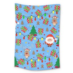 Santa And Rudolph Pattern Large Tapestry by Valentinaart