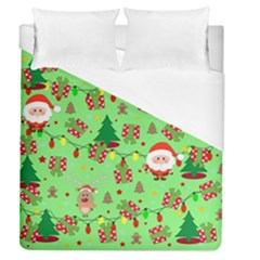 Santa And Rudolph Pattern Duvet Cover (queen Size)
