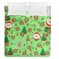 Santa And Rudolph Pattern Duvet Cover Double Side (queen Size)