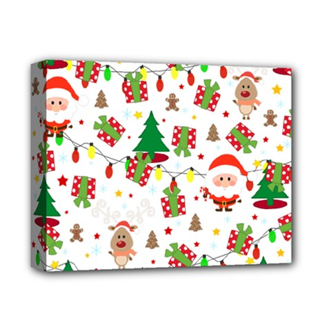 Santa And Rudolph Pattern Deluxe Canvas 14  X 11  by Valentinaart