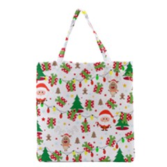 Santa And Rudolph Pattern Grocery Tote Bag