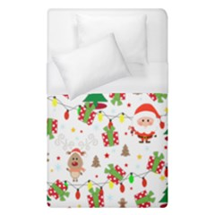 Santa And Rudolph Pattern Duvet Cover (single Size)