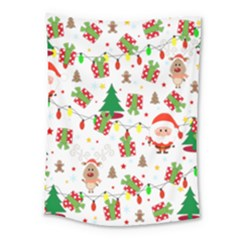 Santa And Rudolph Pattern Medium Tapestry by Valentinaart