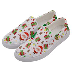 Santa And Rudolph Pattern Men s Canvas Slip Ons by Valentinaart