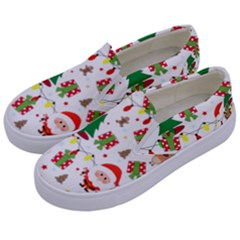 Santa And Rudolph Pattern Kids  Canvas Slip Ons by Valentinaart
