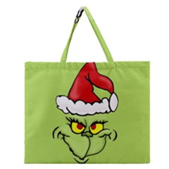 Grinch Zipper Large Tote Bag by Valentinaart