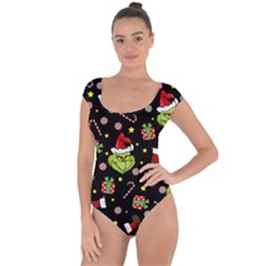 Grinch Pattern Short Sleeve Leotard