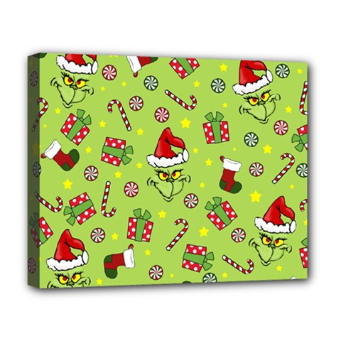 Grinch Pattern Deluxe Canvas 20  X 16