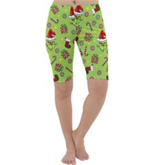 Grinch Pattern Cropped Leggings