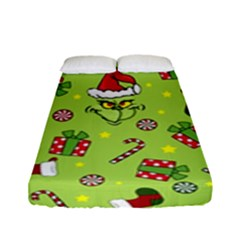 Grinch Pattern Fitted Sheet (full/ Double Size) by Valentinaart