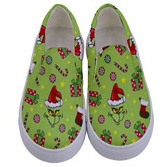Grinch Pattern Kids  Canvas Slip Ons