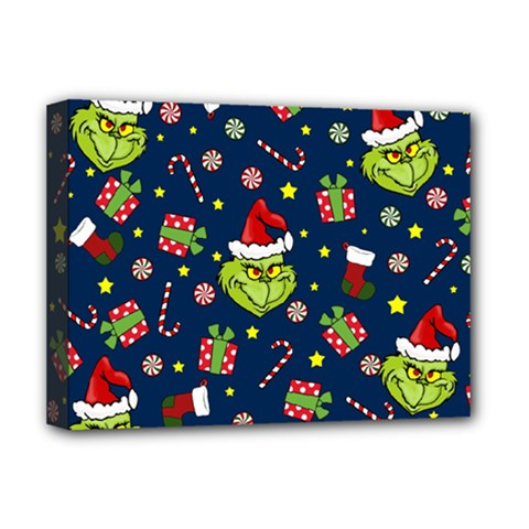 Grinch Pattern Deluxe Canvas 16  X 12   by Valentinaart