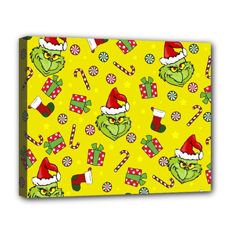Grinch Pattern Deluxe Canvas 20  X 16   by Valentinaart