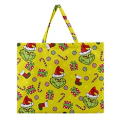 Grinch Pattern Zipper Large Tote Bag by Valentinaart