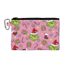 Grinch Pattern Canvas Cosmetic Bag (m) by Valentinaart