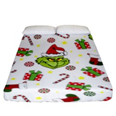 Grinch Pattern Fitted Sheet (king Size)