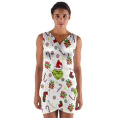 Grinch Pattern Wrap Front Bodycon Dress by Valentinaart