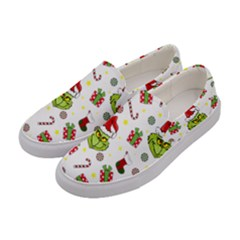 Grinch Pattern Women s Canvas Slip Ons by Valentinaart