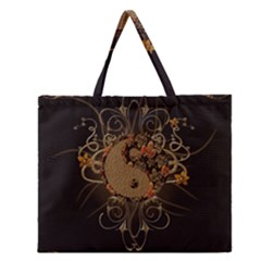 The Sign Ying And Yang With Floral Elements Zipper Large Tote Bag by FantasyWorld7