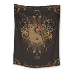The Sign Ying And Yang With Floral Elements Medium Tapestry
