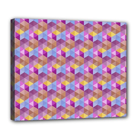 Hexagon Cube Bee Cell Pink Pattern Deluxe Canvas 24  X 20