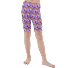 Hexagon Cube Bee Cell Pink Pattern Kids  Mid Length Swim Shorts