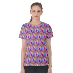 Hexagon Cube Bee Cell Pink Pattern Women s Cotton Tee