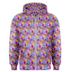 Hexagon Cube Bee Cell Pink Pattern Men s Zipper Hoodie