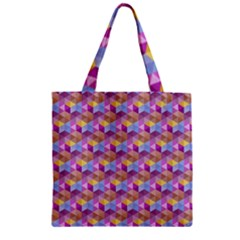Hexagon Cube Bee Cell Pink Pattern Zipper Grocery Tote Bag