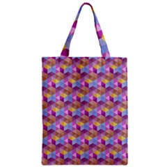 Hexagon Cube Bee Cell Pink Pattern Zipper Classic Tote Bag