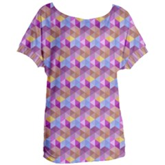 Hexagon Cube Bee Cell Pink Pattern Women s Oversized Tee