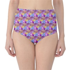 Hexagon Cube Bee Cell Pink Pattern High Waist Bikini Bottoms