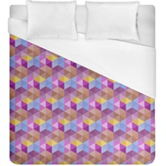 Hexagon Cube Bee Cell Pink Pattern Duvet Cover (king Size)
