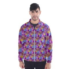 Hexagon Cube Bee Cell Pink Pattern Wind Breaker (men)