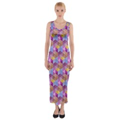 Hexagon Cube Bee Cell Pink Pattern Fitted Maxi Dress
