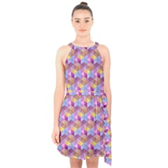 Hexagon Cube Bee Cell Pink Pattern Halter Collar Waist Tie Chiffon Dress