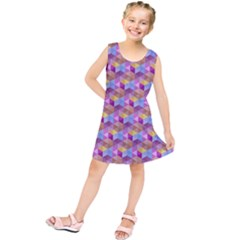 Hexagon Cube Bee Cell Pink Pattern Kids  Tunic Dress