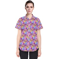 Hexagon Cube Bee Cell Pink Pattern Women s Short Sleeve Shirt