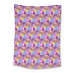 Hexagon-cube-bee Cell Pink Pattern Medium Tapestry
