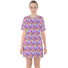 Hexagon Cube Bee Cell Pink Pattern Sixties Short Sleeve Mini Dress
