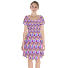 Hexagon Cube Bee Cell Pink Pattern Short Sleeve Bardot Dress