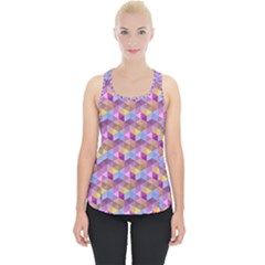 Hexagon Cube Bee Cell Pink Pattern Piece Up Tank Top