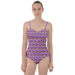 Hexagon Cube Bee Cell Pink Pattern Sweetheart Tankini Set