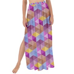 Hexagon Cube Bee Cell Pink Pattern Maxi Chiffon Tie Up Sarong